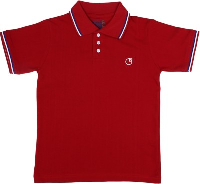 Circle Square Solid Boy's Polo Red T-Shirt