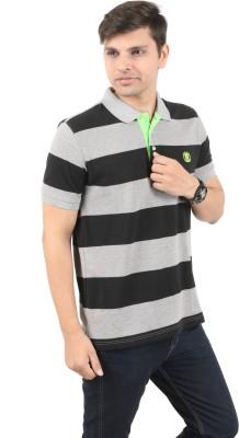 zing polowear Striped Men's Polo Grey, Black T-Shirt