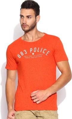 883 Police Graphic Print Men's Round Neck Orange T-Shirt