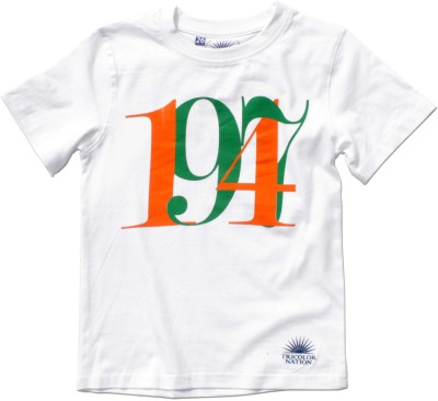 Tricolor Nation Graphic Print Baby Boys Round Neck White T-Shirt