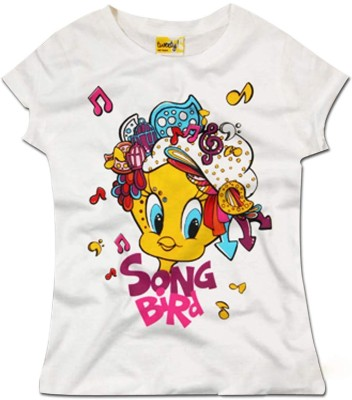 Super Drool Graphic Print Girl's Round Neck White T-Shirt