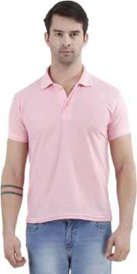 Tej Star Solid Men's Polo Neck Pink T-Shirt