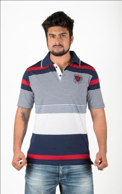 Navya Creations Striped Men's Polo Neck Blue T-Shirt