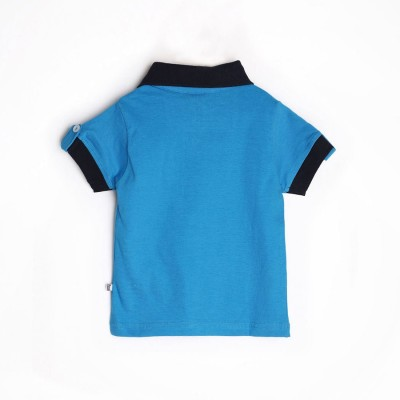 Mee Mee Graphic Print Boy's Polo Neck Blue T-Shirt