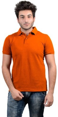 DS WORLD Solid Men's Polo Neck Orange T-Shirt