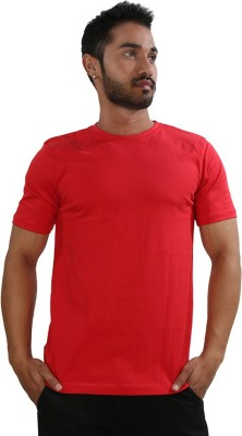 Just Differ Solid Men's Round Neck Red T-Shirt
