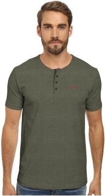 HD Hunter Douglas Solid Men's Henley Dark Green T-Shirt