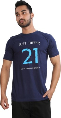 Just Differ Graphic Print Men's Round Neck Blue T-Shirt