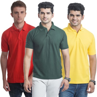 Bainsons Solid Men,s Polo Yellow, Red, Green T-Shirt