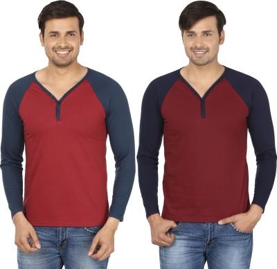 Jangoboy Solid Men,s V-neck Maroon T-Shirt