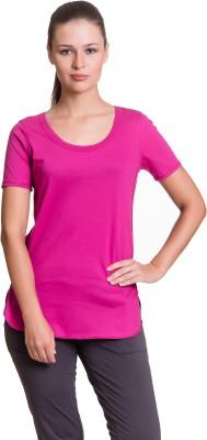 Vrtya Solid Women's Round Neck Pink T-Shirt