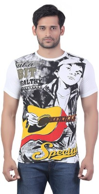 Bfly Printed Men's Round Neck White T-Shirt