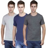 Righardi Solid Men's Round Neck Grey, Da...