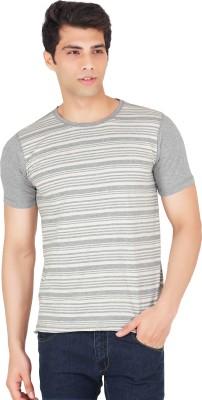 Webmachinez Striped Men's Round Neck Grey T-Shirt