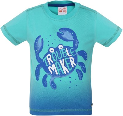 FS Mini Klub Printed Boy's Round Neck Green T-Shirt