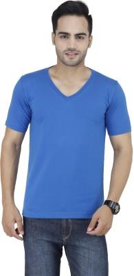 Stylogue Solid Men's V-neck Dark Blue T-Shirt