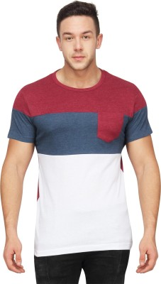 Blue Saint Solid Men's Round Neck Red, Blue T-Shirt