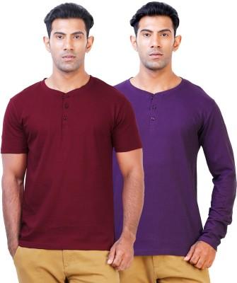 Click Hit Solid Men's Henley Maroon, Purple T-Shirt