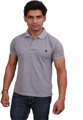 Leonardi Solid Men's Polo Neck Grey T-Shirt