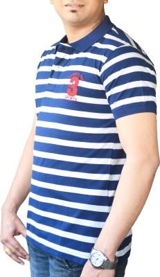 CAPRICIOUS Striped Men's Polo Neck Blue, White T-Shirt