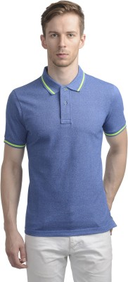 WRIG Solid Men's Polo Neck Blue T-Shirt