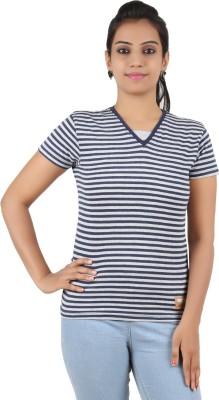 Recca Striped Women,s V-neck Dark Blue, White T-Shirt