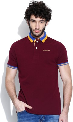 Being Human Clothing Solid Men's Polo Maroon T-Shirt