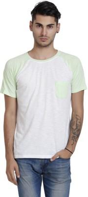 Skatti Solid Men,s Round Neck Light Green T-Shirt