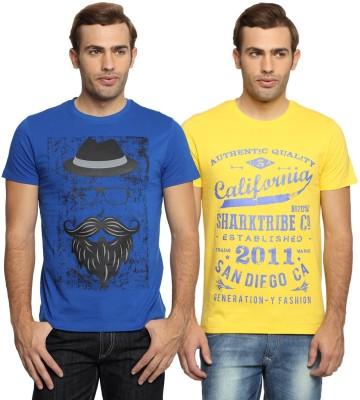 SharkTribe Printed Men's Round Neck Yellow, Blue T-Shirt