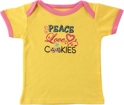 Luvable Friends Graphic Print Baby Girl's Round Neck Yellow T-Shirt