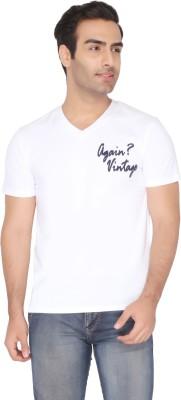 Again Vintage Solid Men's V-neck White T-Shirt