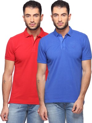 GOAT Solid Men's Polo Neck Red, Blue T-Shirt