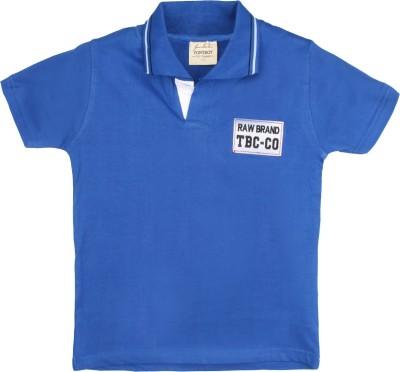 Tonyboy Solid Baby Boy's Polo Neck Blue T-Shirt