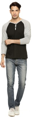 Being Crazy Solid Men,s Henley Black T-Shirt