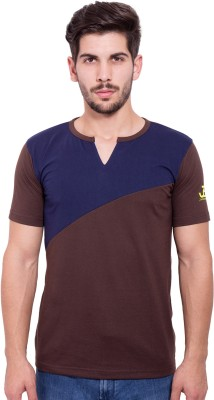 Jangoboy Solid Men's V-neck Brown, Dark Blue T-Shirt