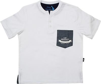 Blue Giraffe Solid Boy's Mandarin Collar White T-Shirt