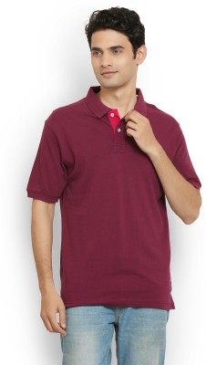 Thisrupt Solid Men's Polo Neck Maroon T-Shirt