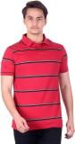 DEZYN Striped Men's Polo Neck Red T-Shir...