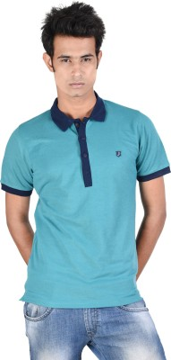 Juene Solid Men's Polo Neck Green, Blue T-Shirt