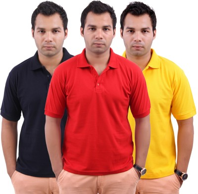 Stylenfly Solid Men's Polo Neck Dark Blue, Red, Yellow T-Shirt
