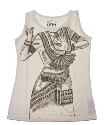 Urumi Graphic Print Women,s Round Neck White, Black T-Shirt