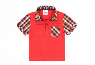 Nahshonbaby Checkered, Solid Baby Boy's Polo Neck Red T-Shirt