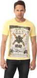 YOO Graphic Print Men's Round Neck Yello...
