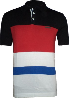 Tick Lish Striped Men's Polo Neck Black, Red, White T-Shirt
