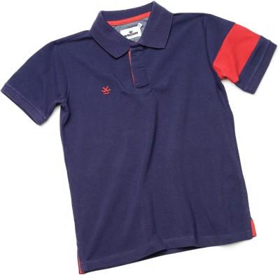 WROGN Solid Boy's Polo Neck Dark Blue T-Shirt