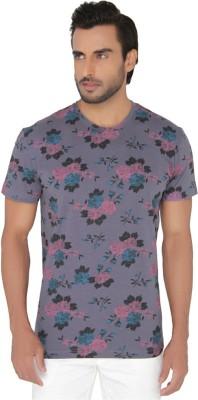 Jadeblue Printed Men's Round Neck Purple T-Shirt