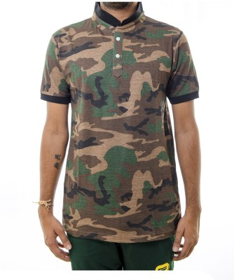 Shootr Military Camouflage Men's Fashion Neck Brown T-Shirt