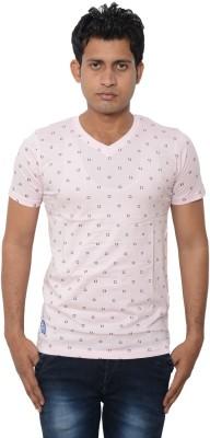 Lampara Polka Print Men's V-neck Pink T-Shirt