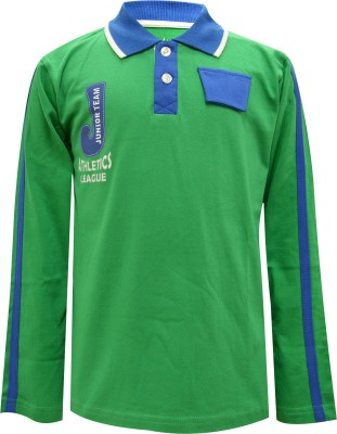 Blueriver Graphic Print Boy's Polo Neck Green T-Shirt