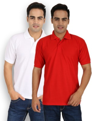 Larwa Solid Men's Polo Neck White, Red T-Shirt